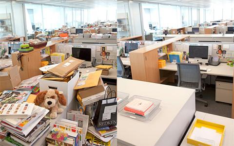 Antes y después de una oficina precaria