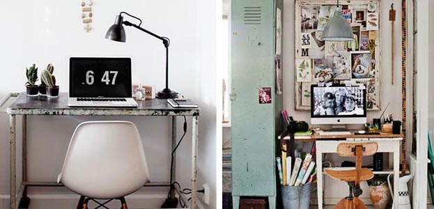 Oficina en casa con decoración industrial