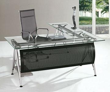 Mesa de oficina moderna en metal y cristal