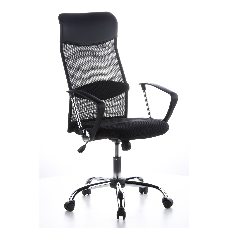 Silla de oficina arial en malla y cuero color negro for Precios sillas giratorias para escritorio