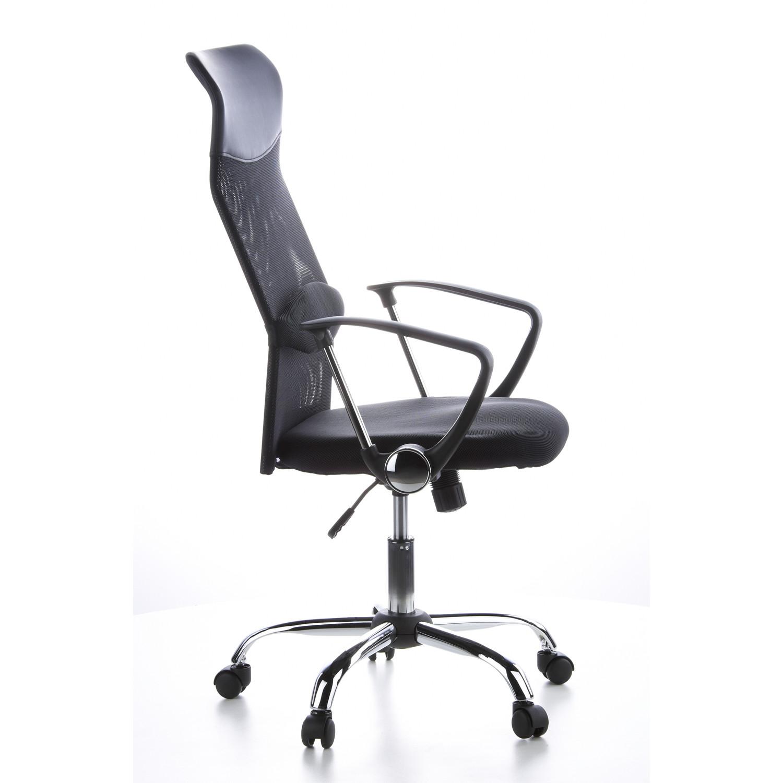 Silla de oficina arial en malla y cuero color negro for Sillas de oficina precios