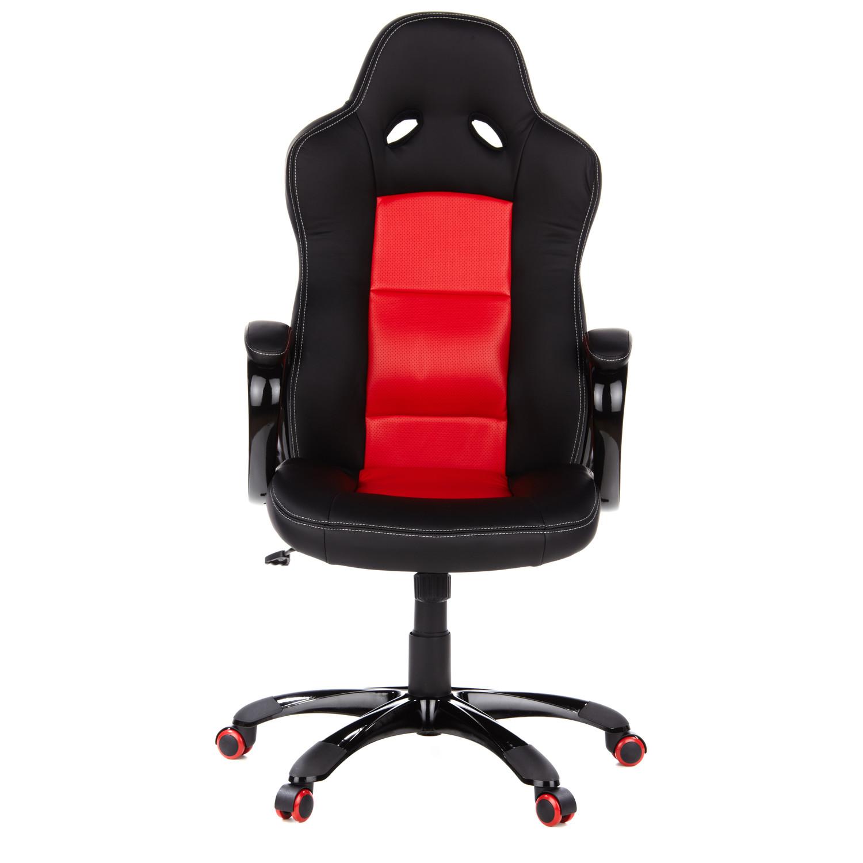Silla gaming cooper 30 en polipiel negra y roja for Sillas de oficina sodimac