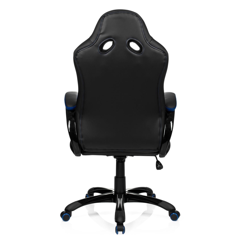 Silla gaming racer ejecutiva en piel negro y azul silla for Silla ordenador gaming