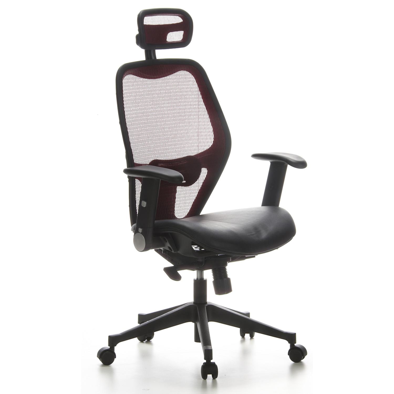 Silla de oficina airport ajustable piel y malla rojo y for Soporte lumbar silla oficina