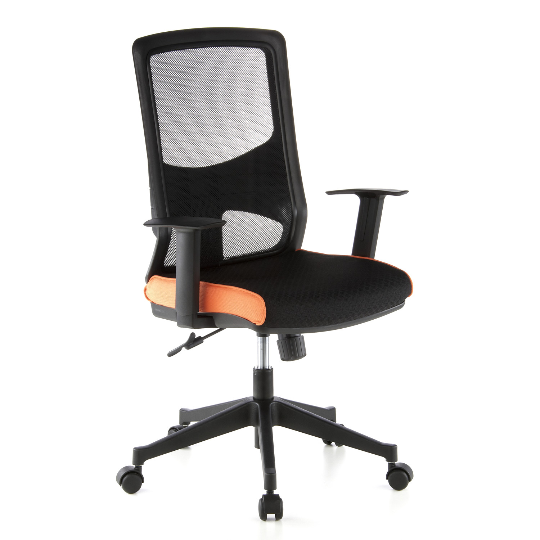 Silla de oficina labita 8h transpirable negro y naranja for Sillas de escritorio altas
