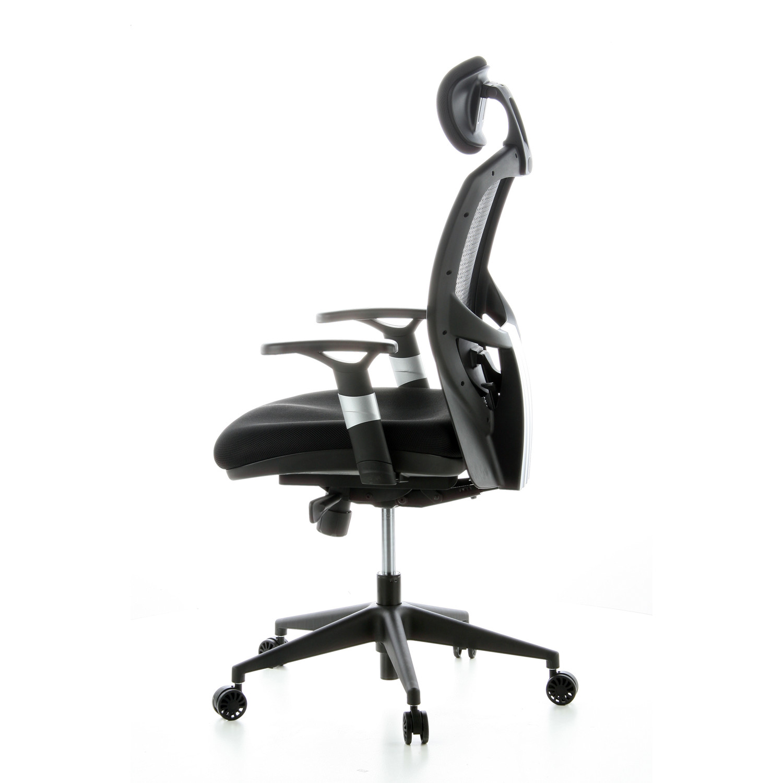 Silla ergon mica venus tela ajustable 100 en tela negra for Asiento silla oficina