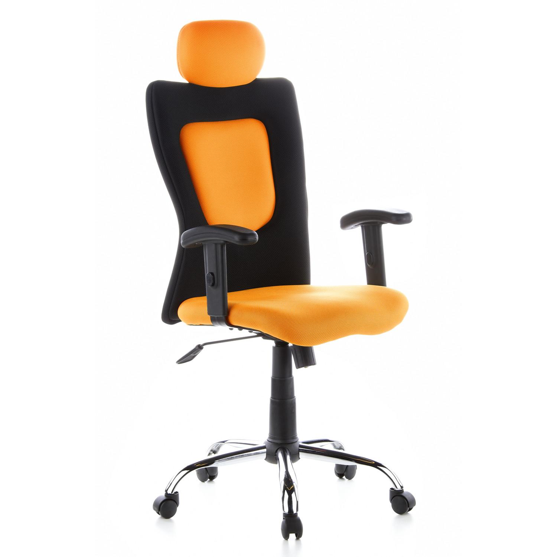 Silla de oficina city 70 altura ajustable negro y naranja for Altura silla