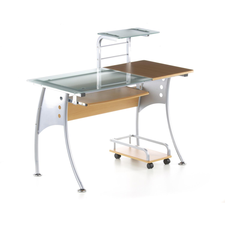 Mesa de ordenador de dise o ergon en madera y cristal color haya 75 x 120 x 60 cm - Mesas de ordenador de diseno ...