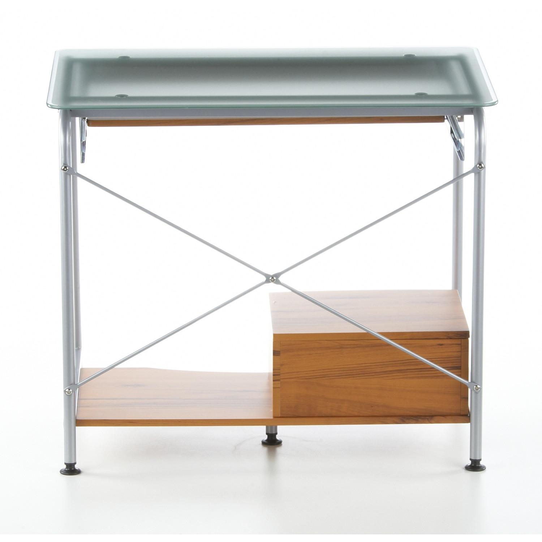 Mesa de ordenador compact en madera de teca y cristal for Mesas ordenador para espacios pequenos