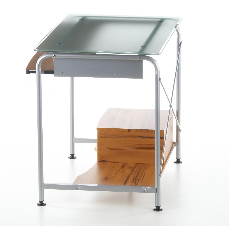 Mesa de ordenador compact en madera de teca y cristal - Mesa ordenador madera ...