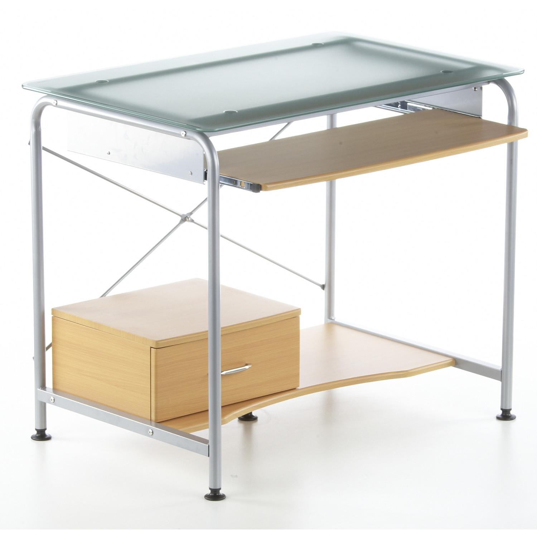 mesa ordenador compact pro ahorro de espacio para tu pc en madera haya y cristal