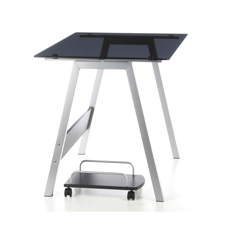 Mesa de ordenador en cristal delta gran dise o soporte para cpu en cristal negro 76 x 100 cm - Mesas de ordenador de diseno ...