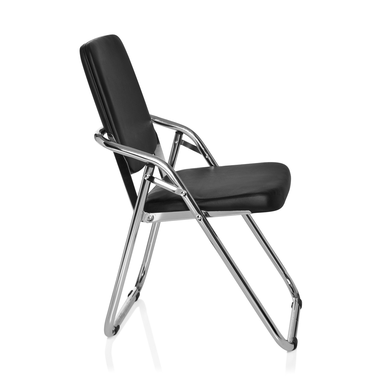Silla de confidente plegable esto en acero negro silla for Sillas plegables diseno