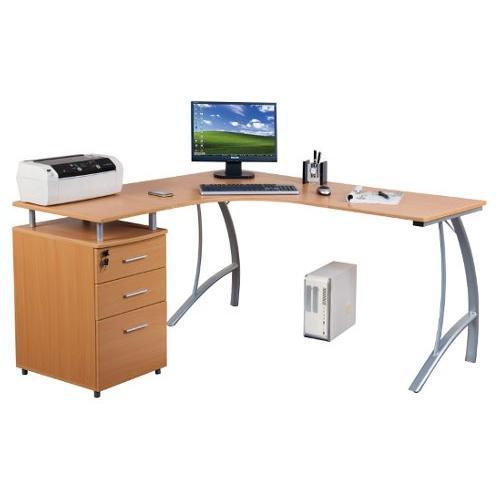 Mesa de oficina CASTOR, madera color haya, 151x143x55cm - Mesa de ...