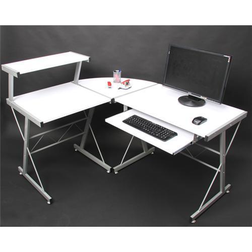 Mesa de ordenador easy line madera aluminio blanco - Mesa ordenador madera ...