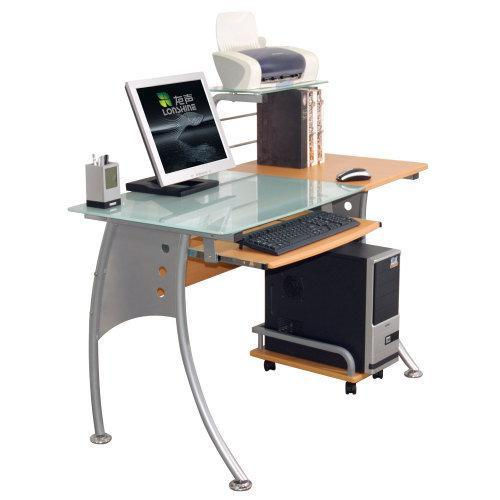 Mesa de ordenador de dise o ergon en madera y cristal for Diseno mesa ordenador