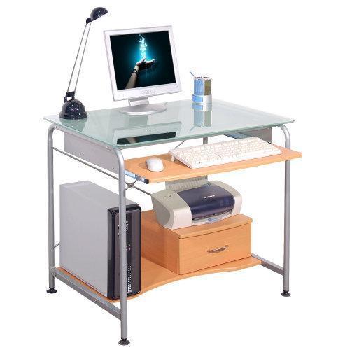 Mesa ordenador compact pro ahorro de espacio para tu pc en madera haya y cristal - Mesas de ordenador ...