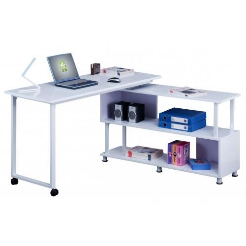 Mesa de ordenador magali en madera color blanco 135x55cm - Mesa de ordenador con ruedas ...