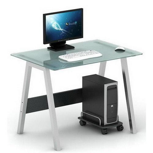 Mesa de ordenador en cristal delta 76x100 cm for Mesa de ordenador con ruedas
