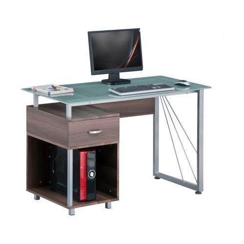 Mesa de ordenador leos cristal y madera color nogal for Mesa ordenador cristal