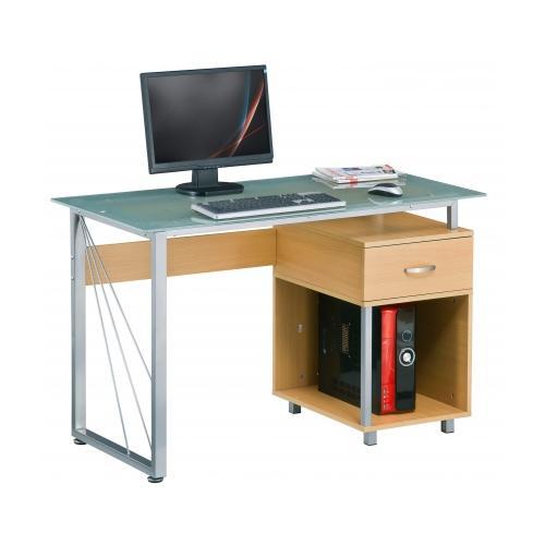 Mesa de ordenador leos cristal y madera color haya for Mesa ordenador cristal