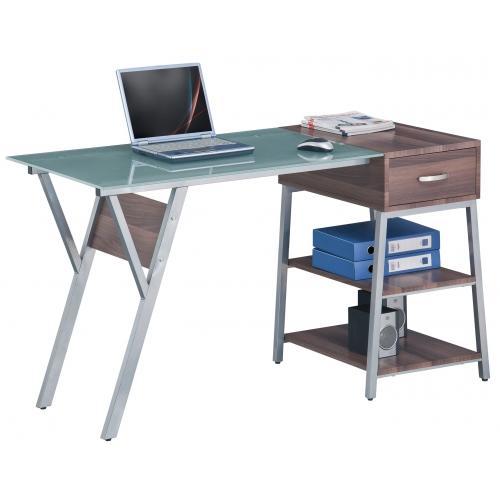 Mesa de ordenador maya cristal y madera color nogal for Diseno mesa ordenador