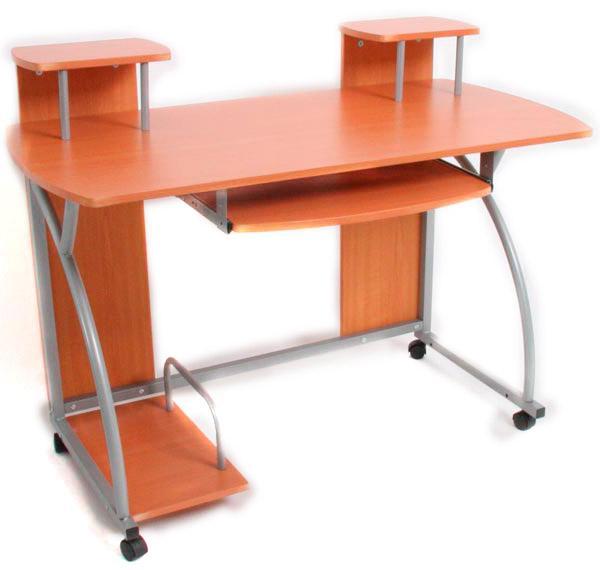 Mesa de ordenador ohio pro bandeja teclado haya 115x55 - Mesas ordenador con ruedas ...