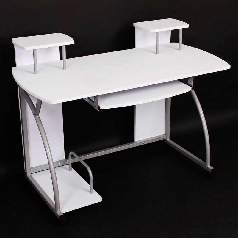 Mesa de ordenador ohio pro bandeja teclado blanca for Mesa de ordenador blanca