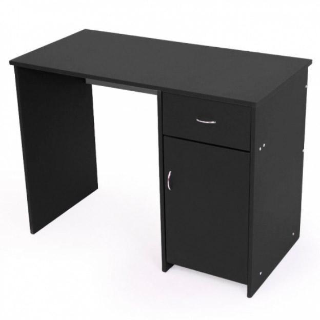 Mesa de escritorio atlanta con almacenaje negra for Dimensiones mesa escritorio