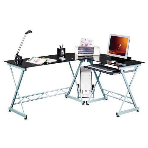 Mesa de oficina en cristal negro expert soporte pc - Mesas oficina leroy merlin ...