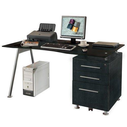 mesa escritorio cristal templado gran mesa de ordenador start up cristal templado contenedor y cajones negro 150cm x 80cm x 76cm