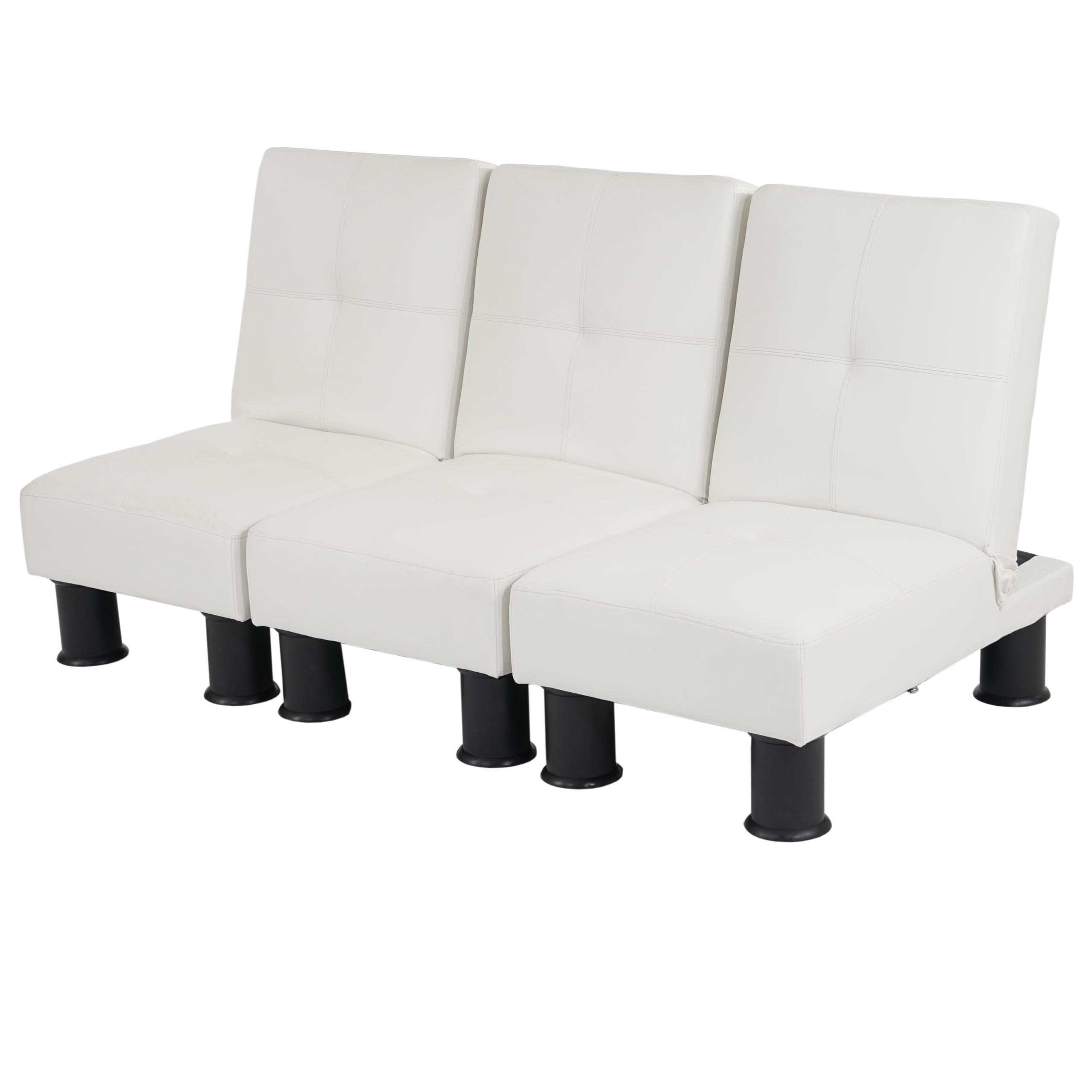 Sof modular de 3 plazas carlo en piel color blanco - Sofa piel blanco ...