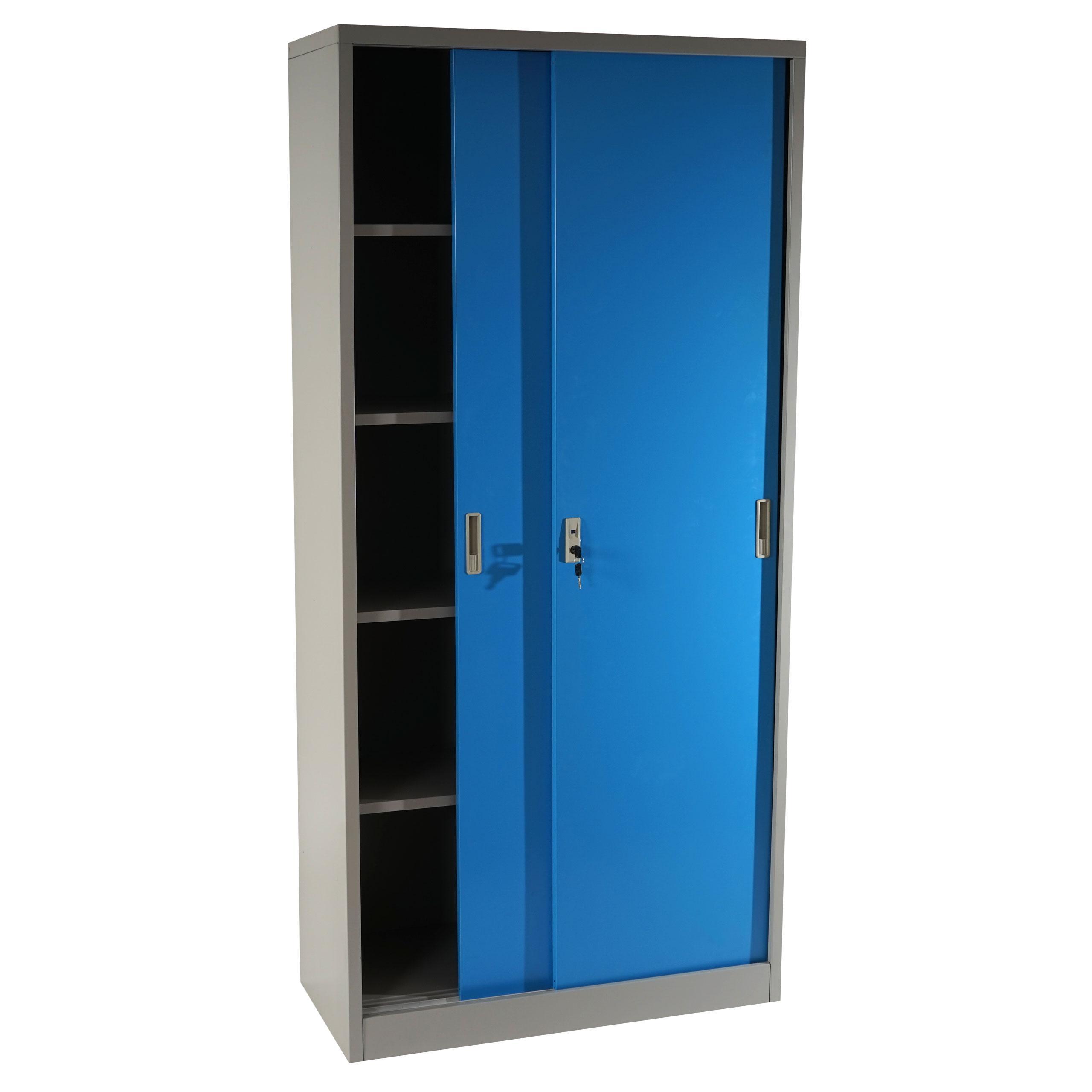 Armario archivador OLSEN PUERTAS CORREDERAS, gran capacidad y máxima robustez, color azul