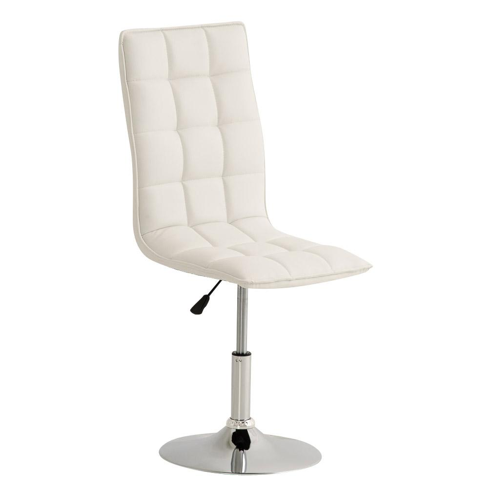 Silla de Confidente BULGARI, ajustable en altura, base fija en metal, tapizada en Piel color Blanco