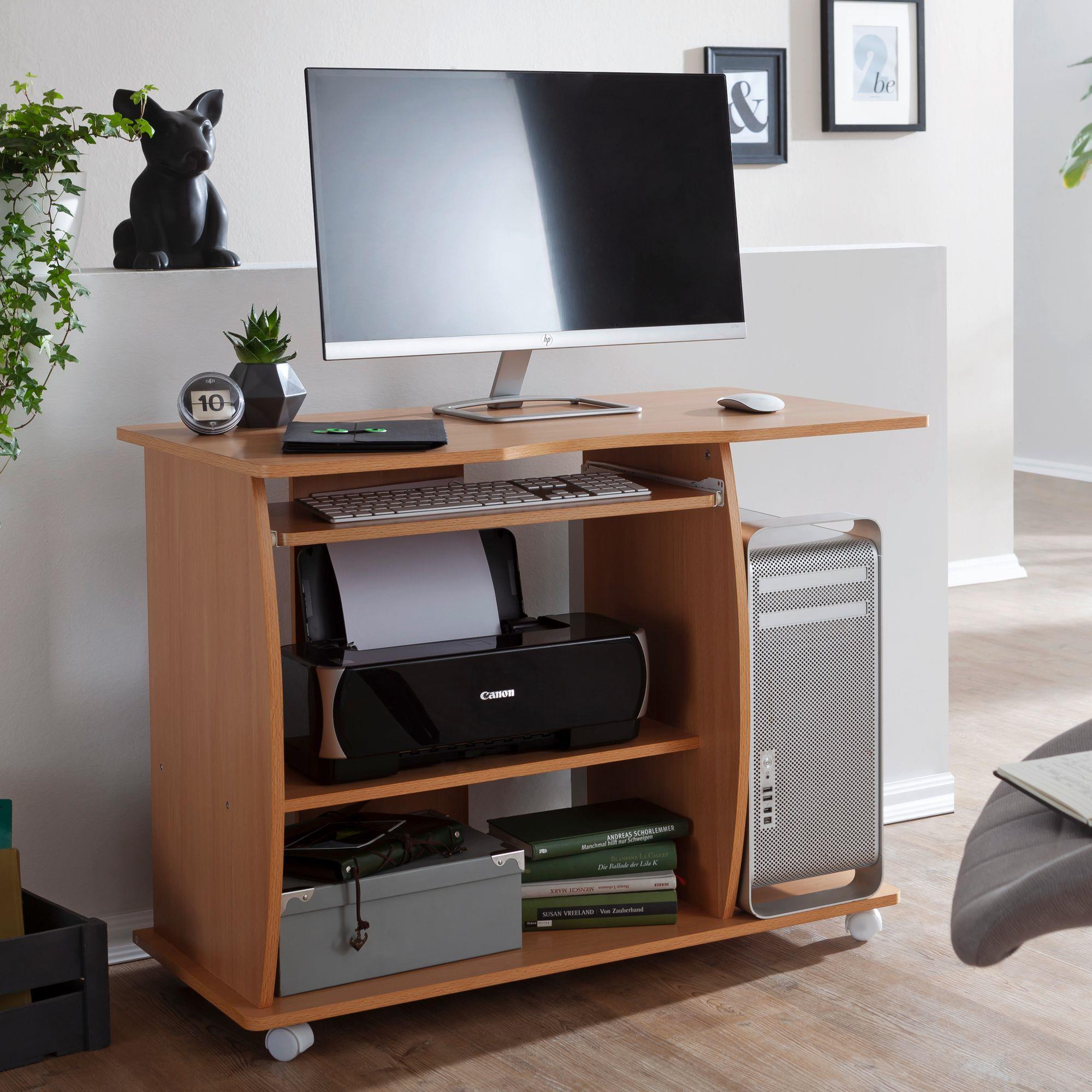 Mesa de ordenador duke bandeja para teclado y ruedas en for Mesas de ordenador pequenas