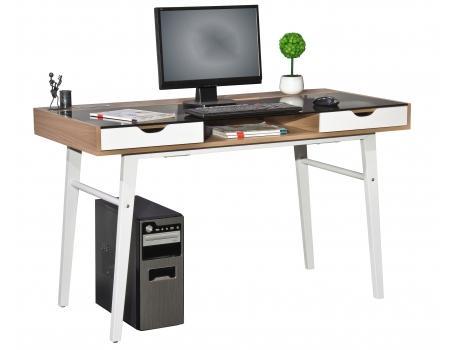 mesa de ordenador helios superficie en cristal y madera dimensiones xcm color nogal