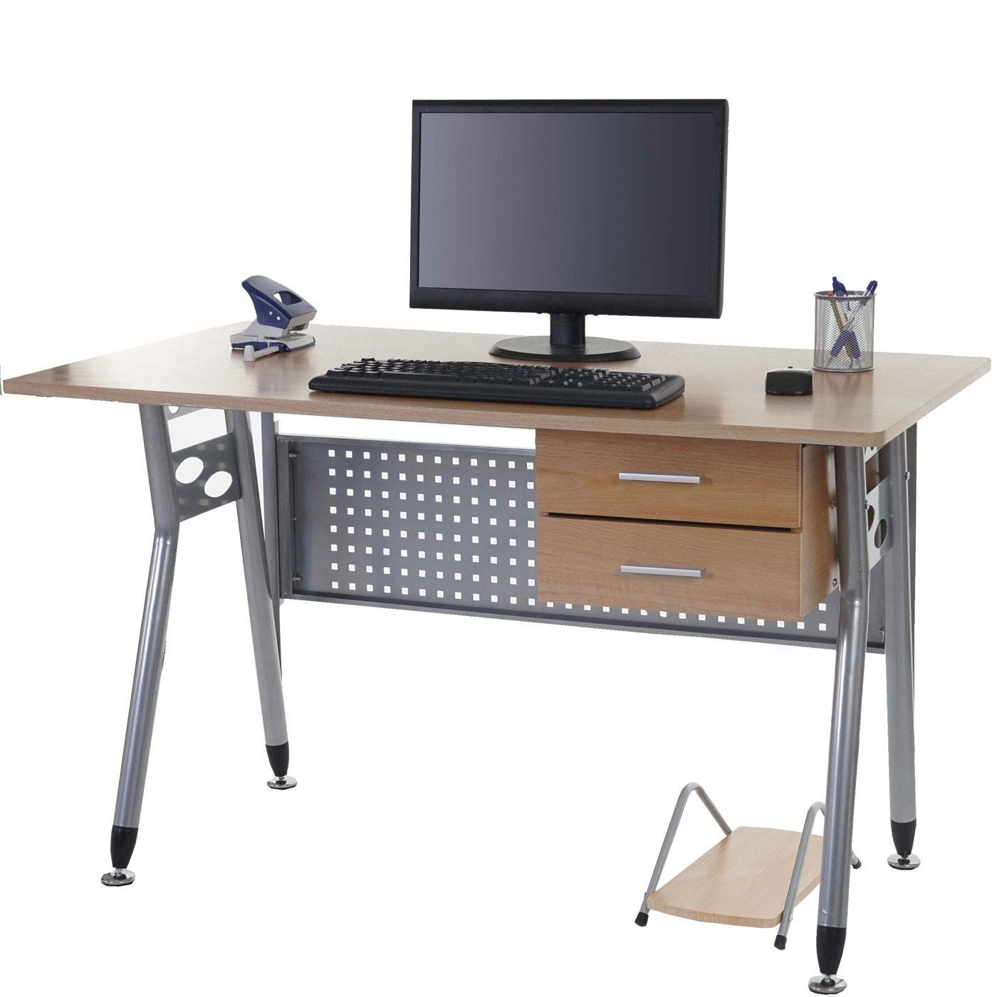 Mesa para ordenador caribe en metal con cajones y soporte - Mesa para ordenador con ruedas ...