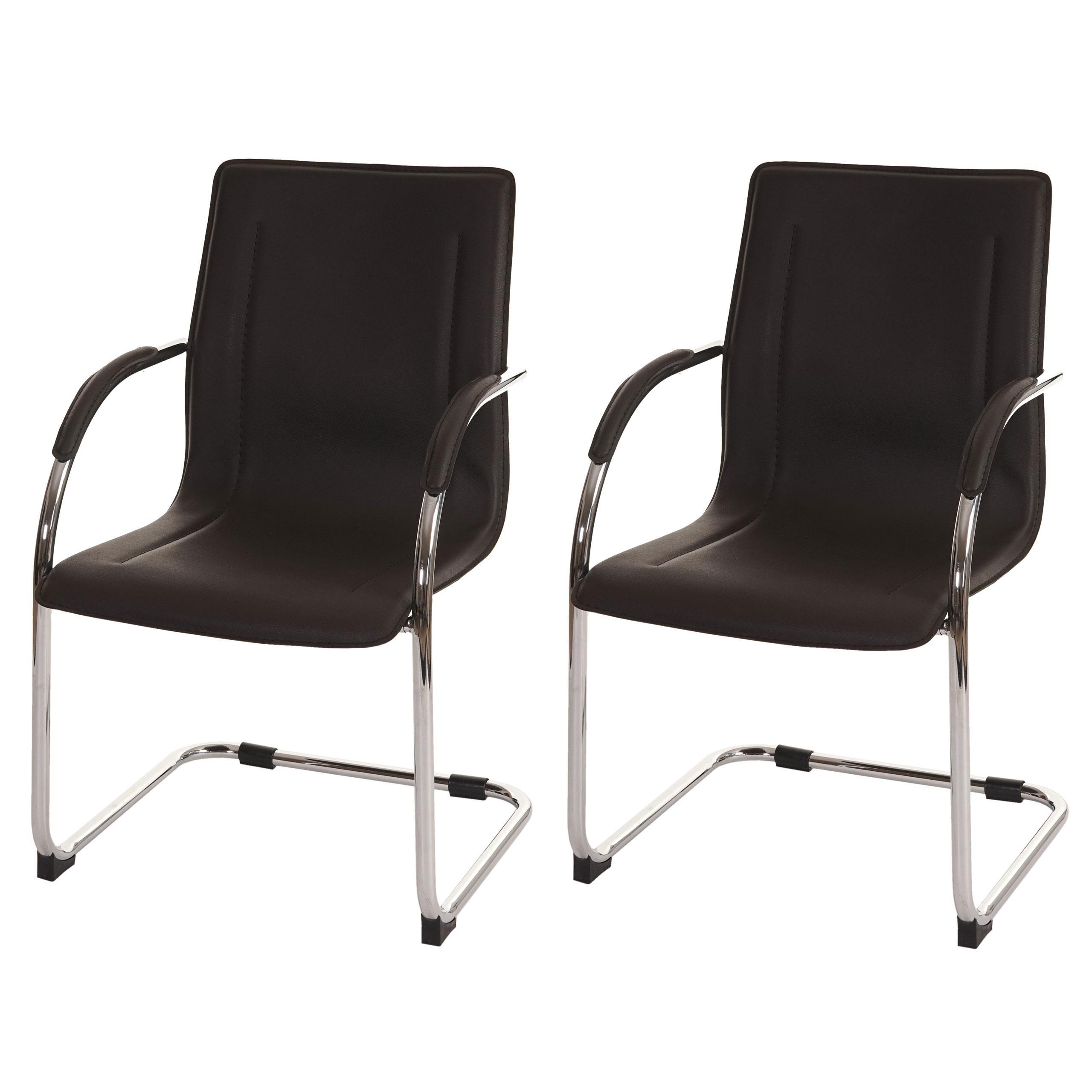 lote de 2 sillas de confidente zeus estructura metálica y tapizadas