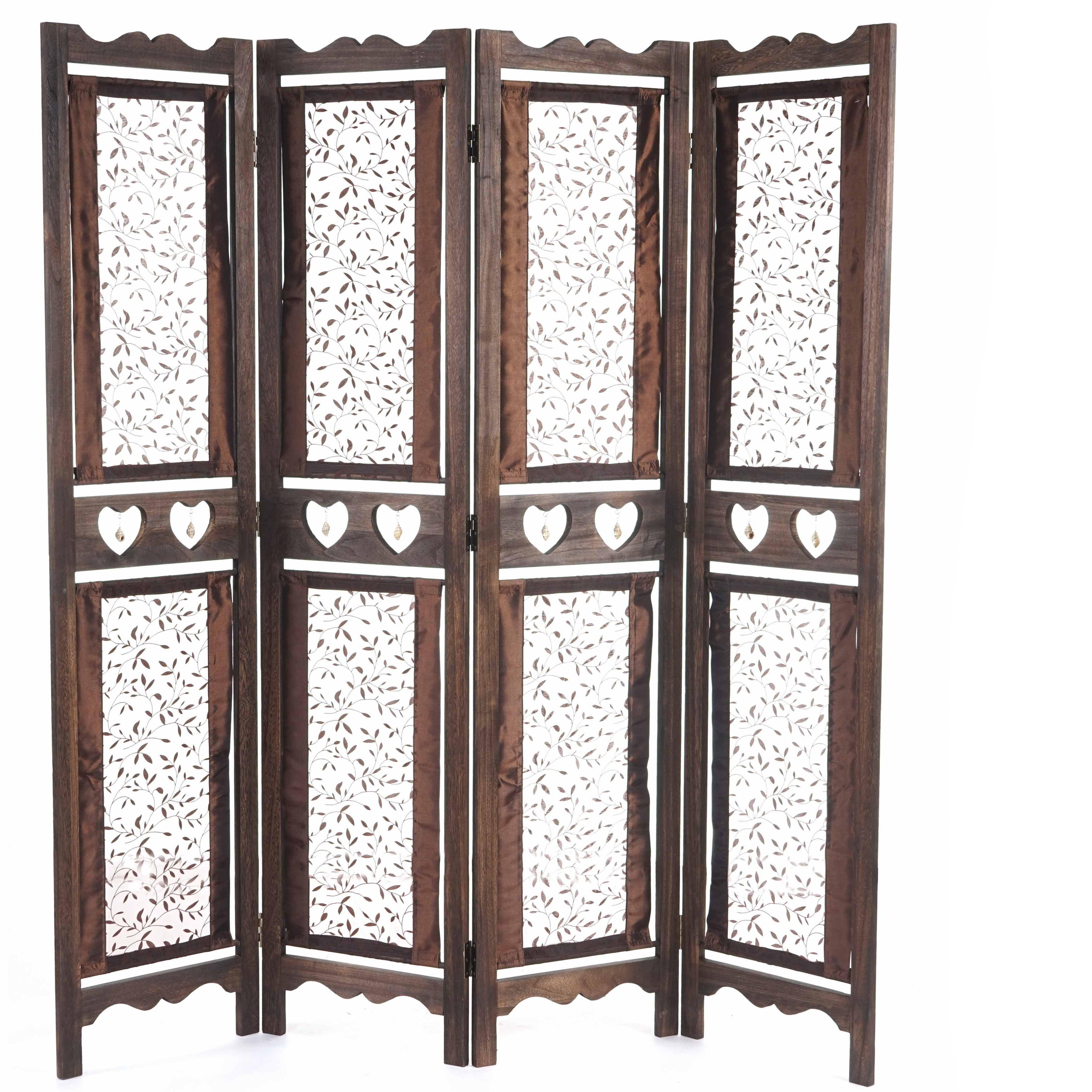 biombo paneles hadar xxcm estructura de madera en marrn con tapizado de tela