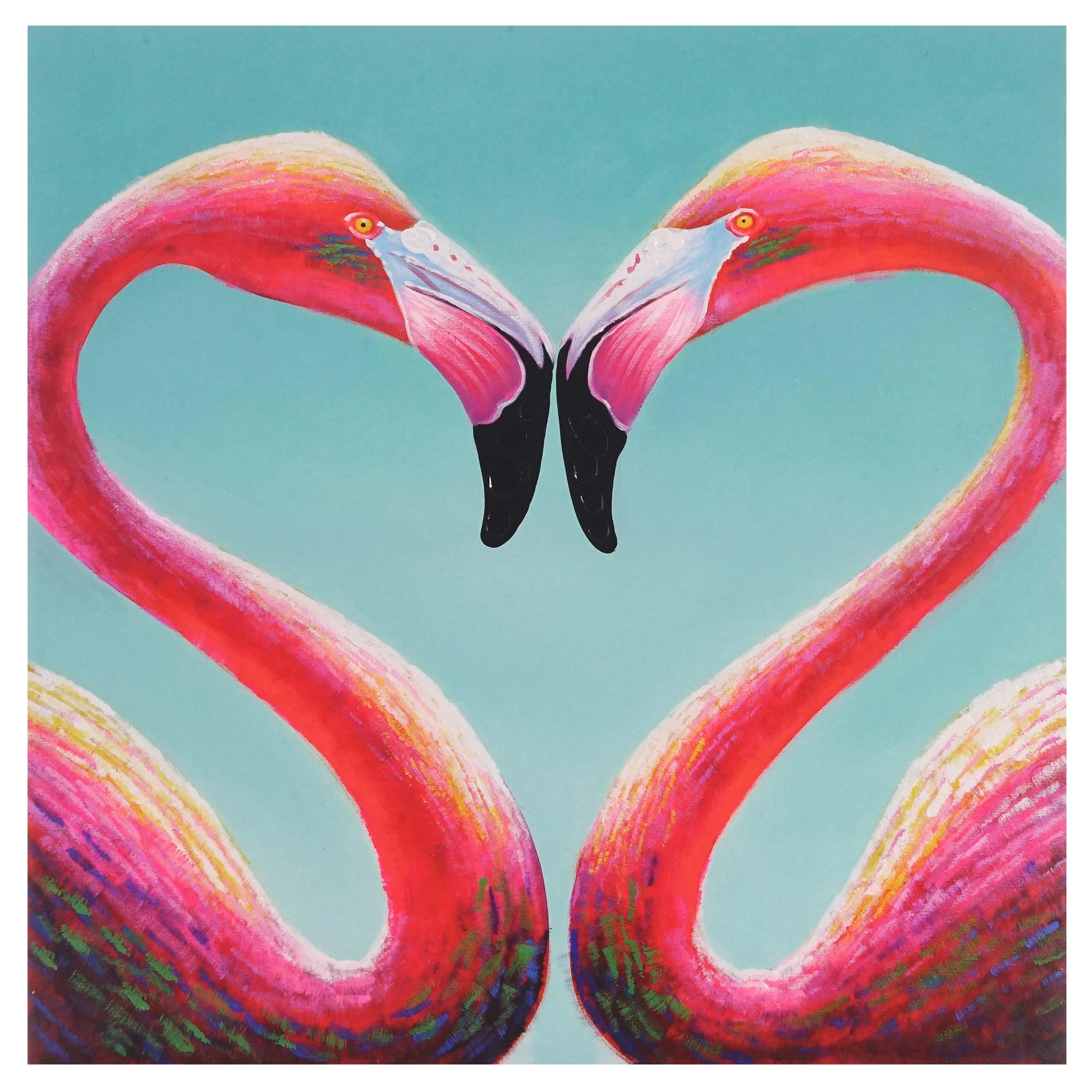 Cuadro flamencos 90x90x3 5 pintado a mano al leo - Como pintar un cuadro moderno ...