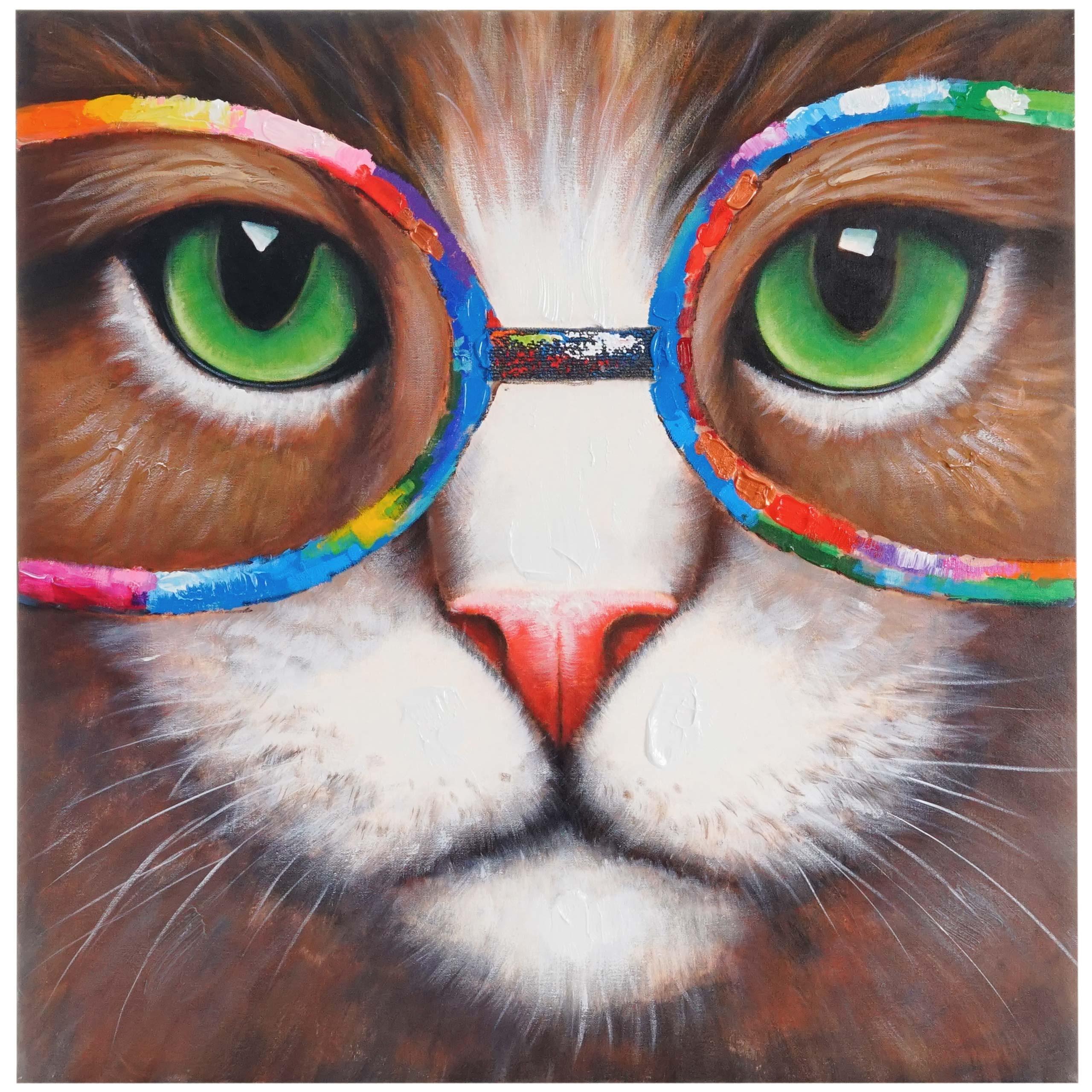 Cuadro gato 90x90x3 5 cm pintado a mano al leo cuadro for Cuadros pintados al oleo