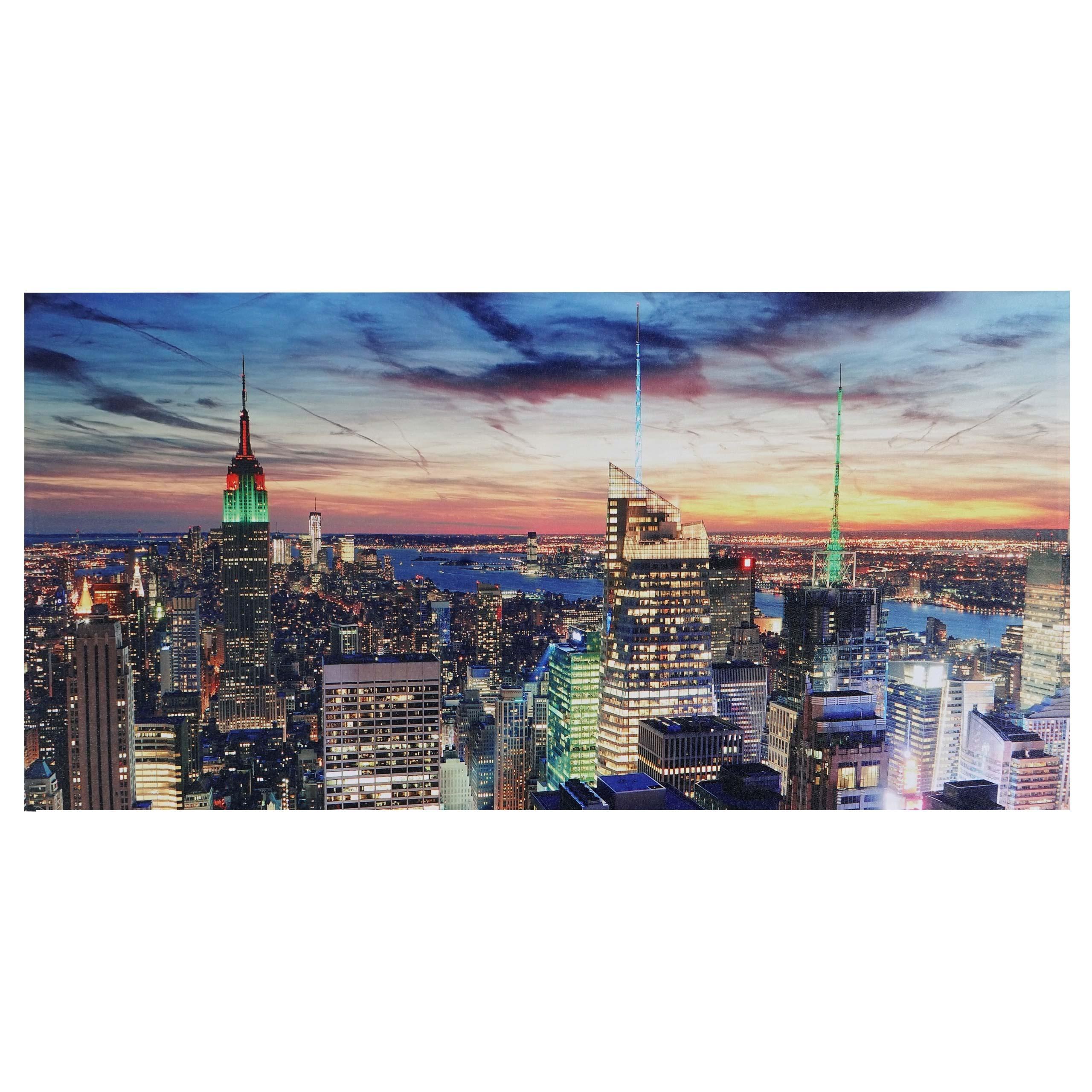 Cuadro con iluminación LED NEW YORK, dimensiones 100x50 cm