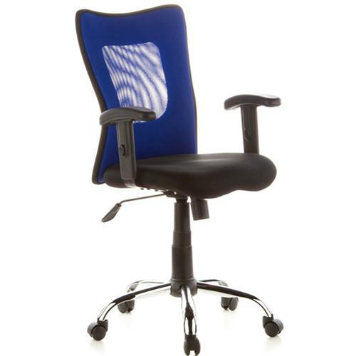 DEMO# Silla de Diseño City 60, Base cromada, Totalmente Ajustable, color Azul y Negro
