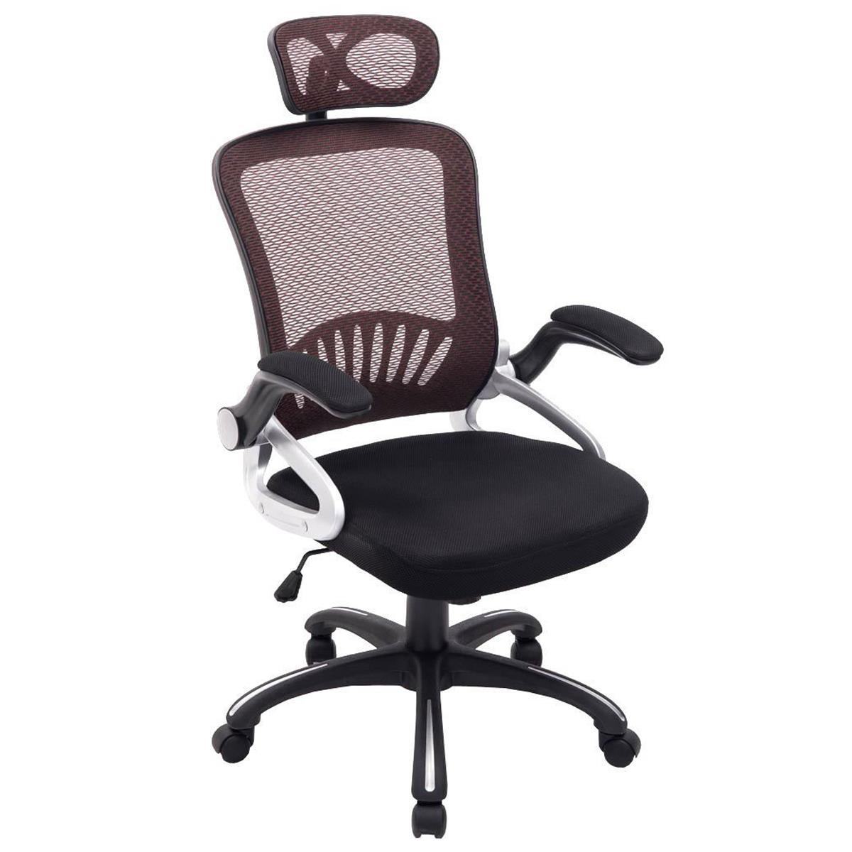 Silla Ergonómica SAMANA, Soporte Lumbar, Cabecero Regulable en Malla Transpirable color Marrón/Negro