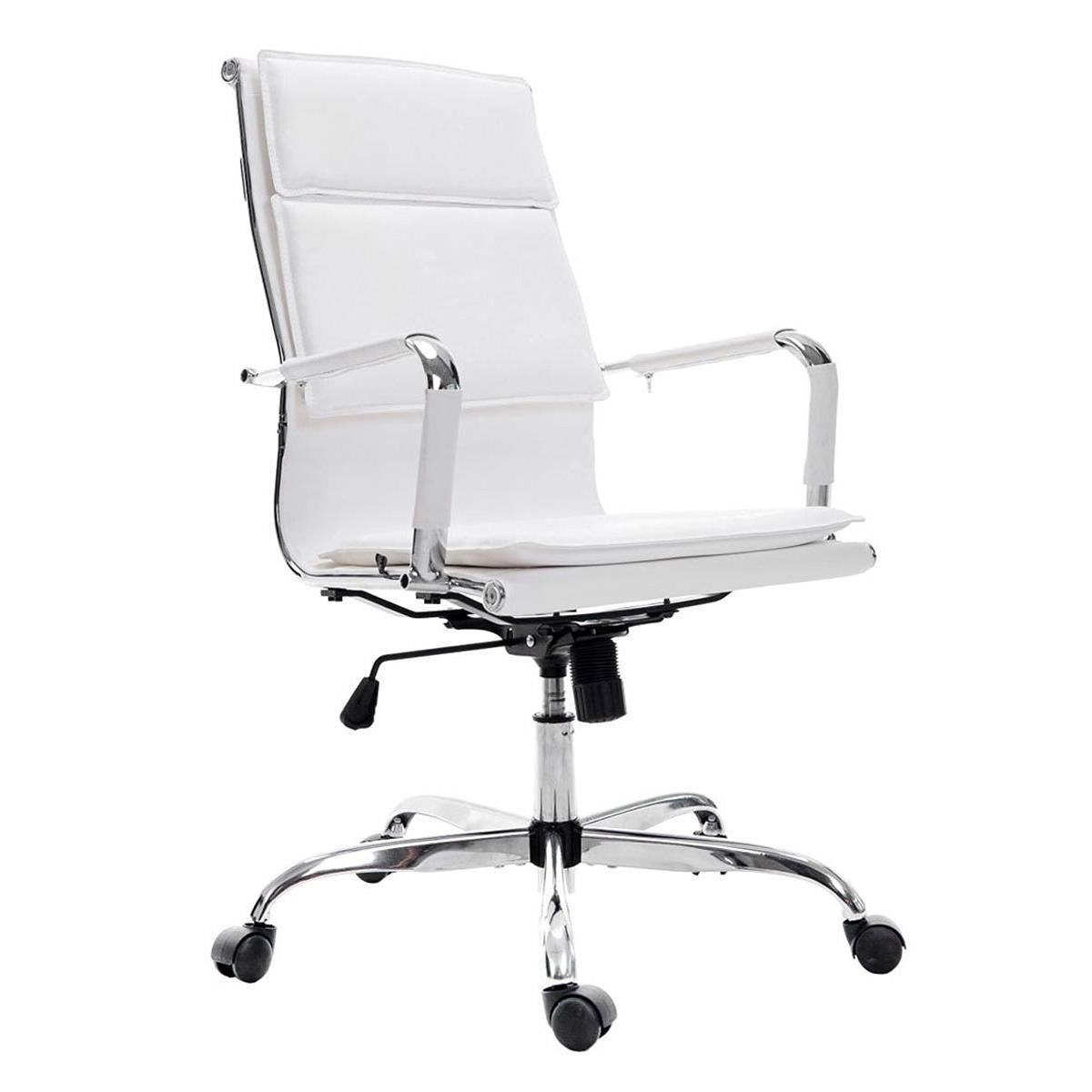 Silla de oficina anatolia en color blanco silla de for Sillas de piel blancas