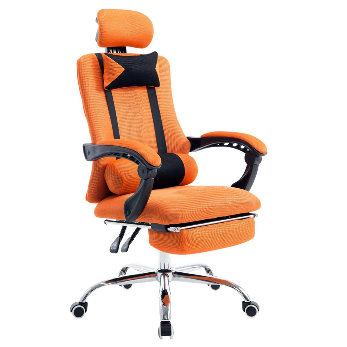 Silla de Oficina / Gaming  ANTARES, Reclinable, Reposapiés Extensible, en Malla Transpirable color Naranja