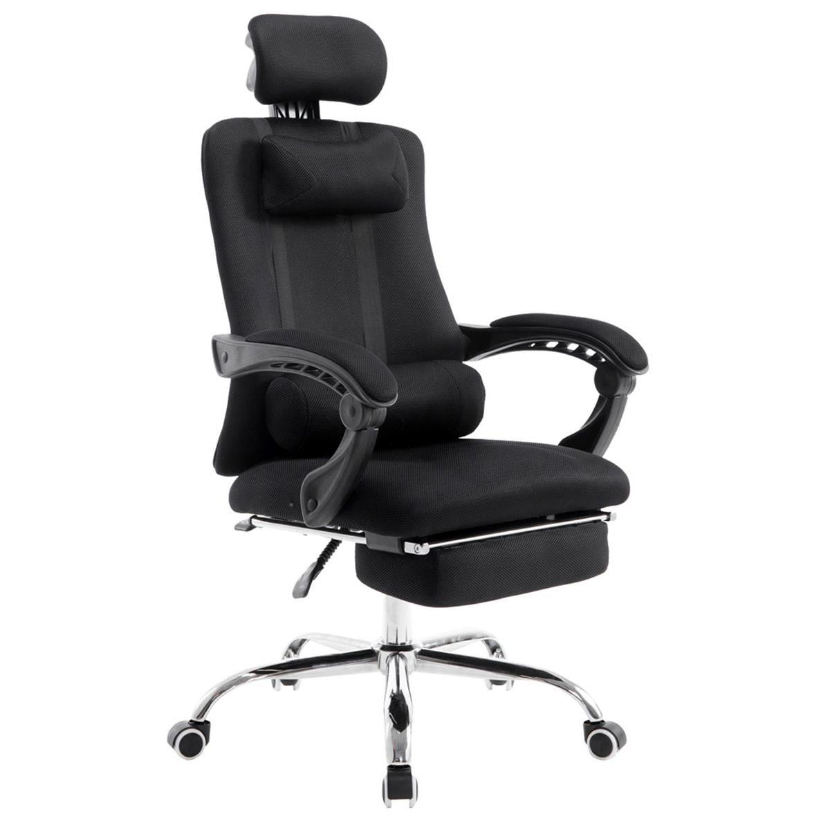 Silla de Oficina / Gaming ANTARES, Reclinable, Reposapiés Extensible, en Malla Transpirable color Negro