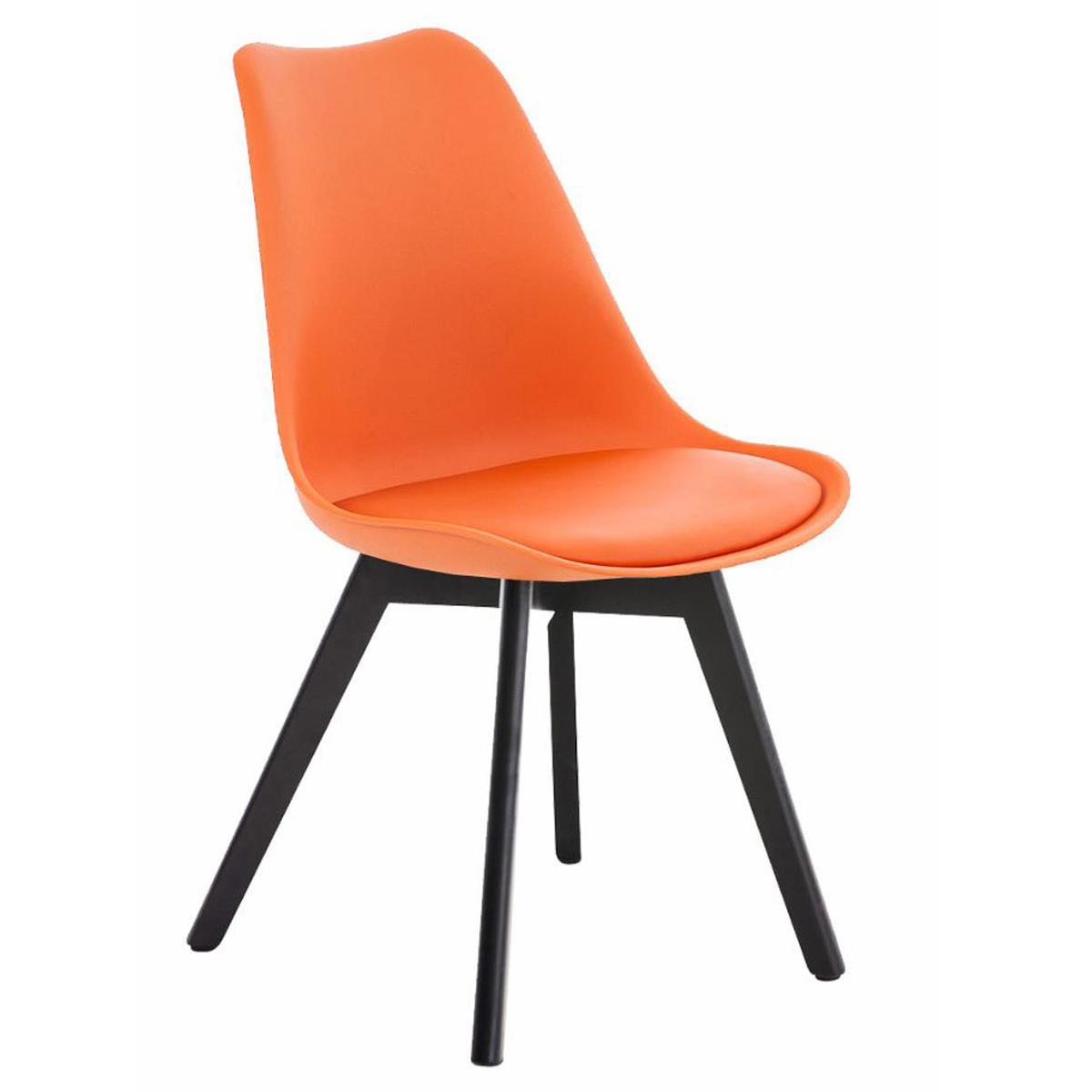 Silla de dise o confidente bosforo exclusivo dise o con patas oscuras en piel color naranja - Sillas plastico diseno ...