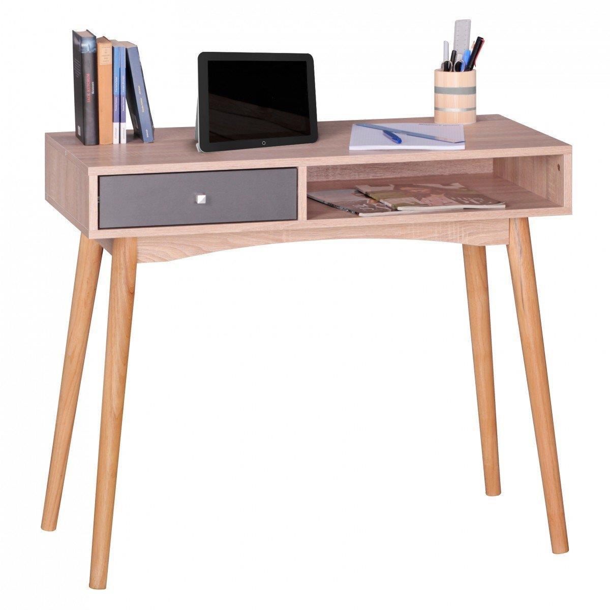 Mesa de ordenador megan superficie en madera 90x45x78 cm for Diseno mesa de trabajo