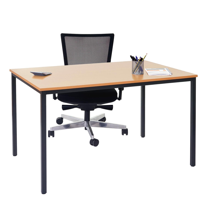 Mesa de oficina demi estructura met lica y superficie en madera color haya mesa de oficina - Mesa de trabajo metalica ...